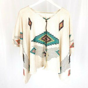 (W3-02) Unbranded One Size Blouse Geometric Aztec